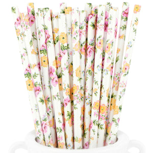 Wild Flowers Paper Straws Biodegradable and Compostable - STRAWTOPIA