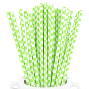 Green | White Checkered Paper Straws Biodegradable and Compostable - STRAWTOPIA