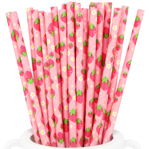 Pink | Strawberries Paper Straws Biodegradable and Compostable - STRAWTOPIA