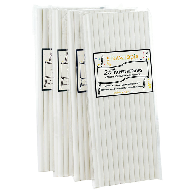 All White Paper Straws — STRAWTOPIA
