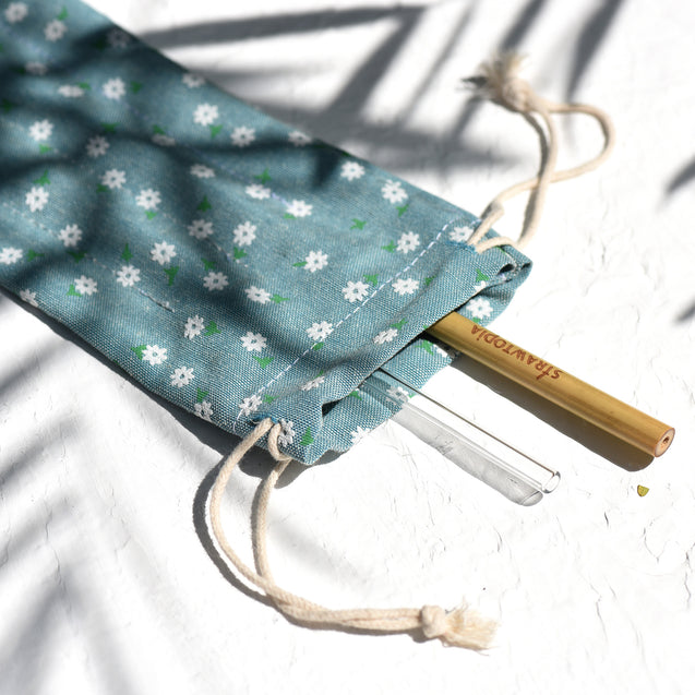 Handmade Drawstring Case Bag for Straws (Blue Flowers) — STRAWTOPIA
