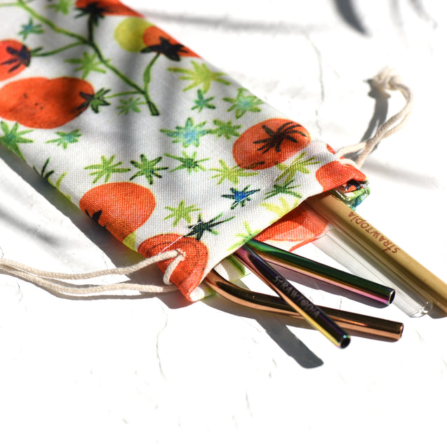 Handmade Drawstring Case Bag for Straws (Tomatoes) — STRAWTOPIA