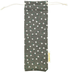 Handmade Drawstring Case Bag for Straws (Olive Green Flowers) — STRAWTOPIA