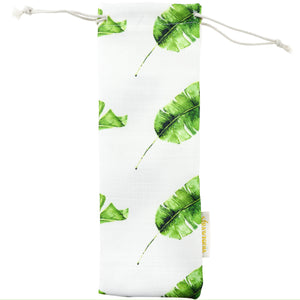 Handmade Drawstring Case Bag for Straws (Feathery Leaves) — STRAWTOPIA