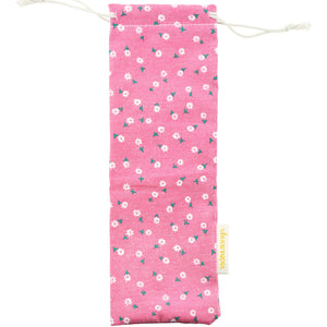 Handmade Drawstring Case Bag for Straws (Pink Flowers) — STRAWTOPIA