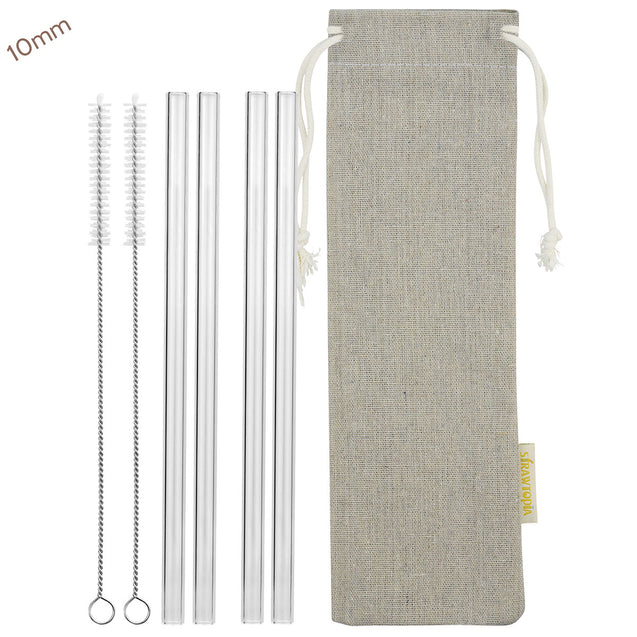 10mm (Transparent) 4 Straight Reusable Glass Straws with Cleaning Brushes — STRAWTOPIA