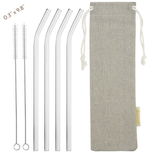 main photo showing 4 bendy glass straws 2 cleaning brushes and jute drawstring bag 8mm wide 25cm long straws