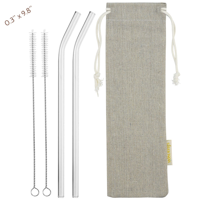 main photo showing 2 bendy glass straws 2 cleaning brushes and jute drawstring bag 8mm 25cm wide straws