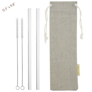 main photo showing 2 straight glass straws 2 cleaning brushes and jute drawstring bag 8mm 25cm wide straws