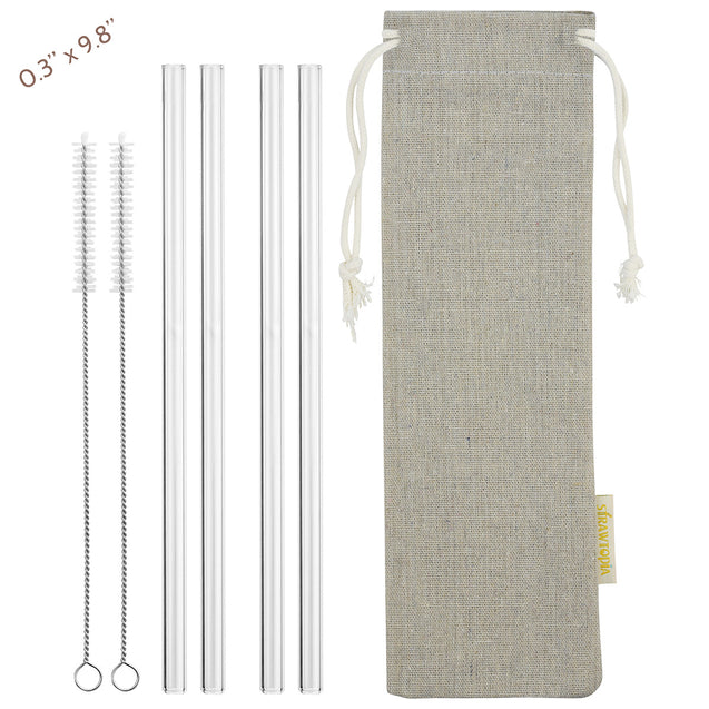 main photo showing 4 straight glass straws 2 cleaning brushes and jute drawstring bag 8mm wide straws
