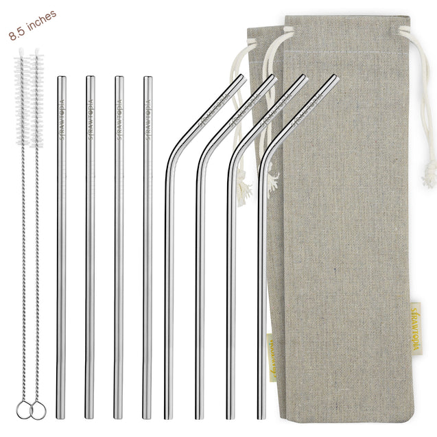 (8.5 inches) 11 Piece Set of Reusable Stainless Steel Metal Straws with Cleaning Brushes — STRAWTOPIA