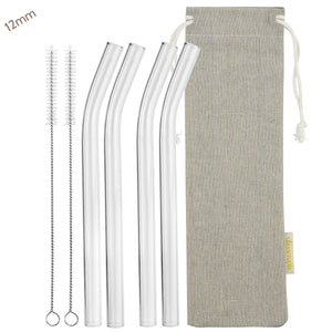 12mm (Transparent) 4 Bendy Reusable Glass Straws with Cleaning Brushes — STRAWTOPIA