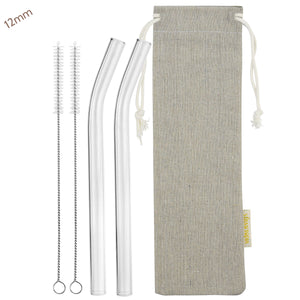 12mm (Transparent) 2 Bendy Reusable Glass Straws with Cleaning Brushes — STRAWTOPIA