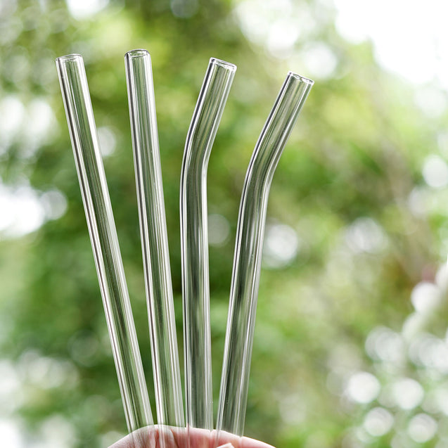 12mm (Transparent) 2 Bendy 2 Straight Reusable Glass Straws with Cleaning Brushes — STRAWTOPIA