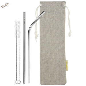 1 Straight 1 Bendy (10.4 inches) Reusable Stainless Steel Metal Straws with Cleaning Brushes — STRAWTOPIA