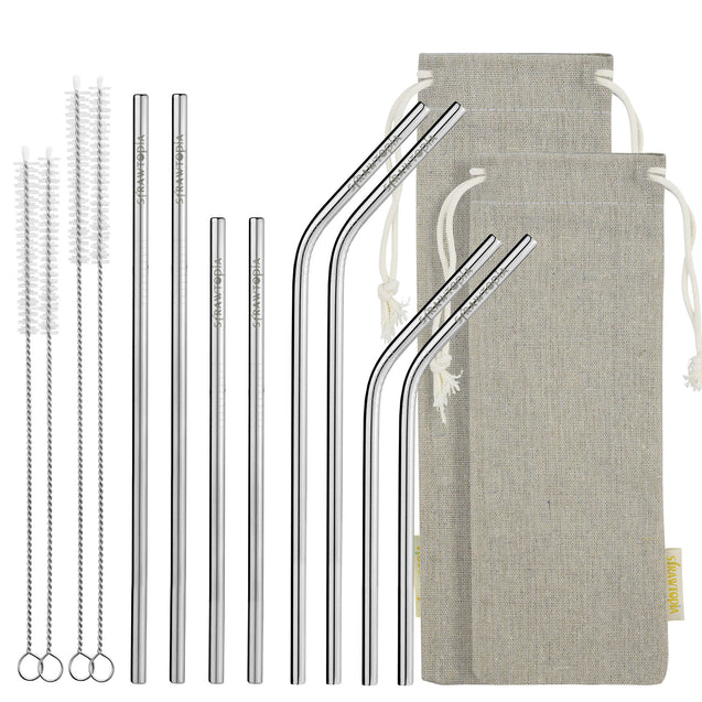 14 Piece Set of Reusable Stainless Steel Metal Straws with Cleaning Brushes — STRAWTOPIA