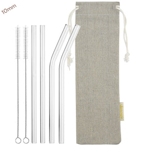 10mm 2 Bendy 2 Straight Reusable Glass Straws with Cleaning Brushes — STRAWTOPIA