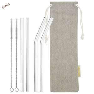 7.9'' (20cm) x 8mm (Transparent) 2 Bendy and 2 Straight Reusable Glass Straws with Cleaning Brushes — STRAWTOPIA