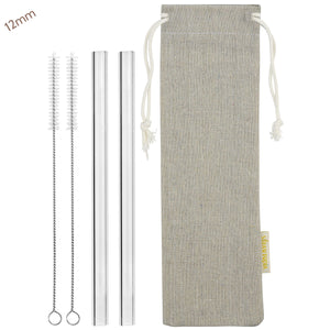 12mm (Transparent) 2 Straight Reusable Glass Straws with Cleaning Brushes — STRAWTOPIA
