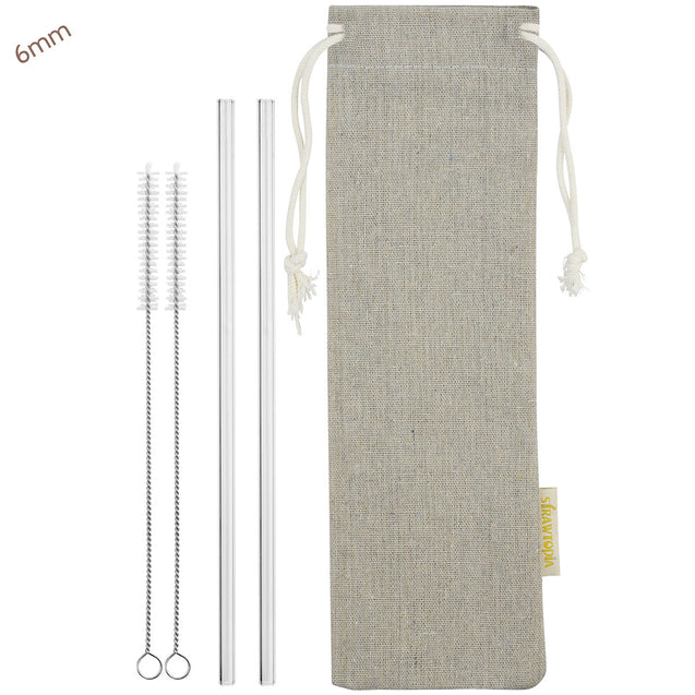 6mm (Transparent) 2 Straight Reusable Glass Straws with Cleaning Brushes — STRAWTOPIA
