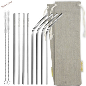 (10.4 inches) 11 Piece Set of Reusable Stainless Steel Metal Straws with Cleaning Brushes — STRAWTOPIA