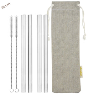 12mm (Transparent) 4 Straight Reusable Glass Straws with Cleaning Brushes — STRAWTOPIA