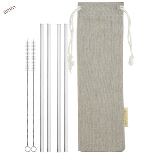 strawtopia 4 straight glass straws 2 cleaning brushes and jute drawstring bag main