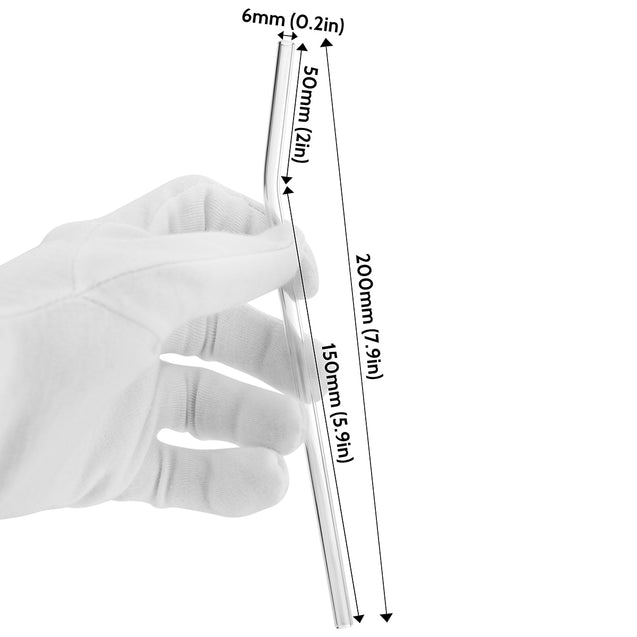 holding bendy glass straw with displayed dimensions 7.9 inches x 0.2 inches (20cm x 6mm)