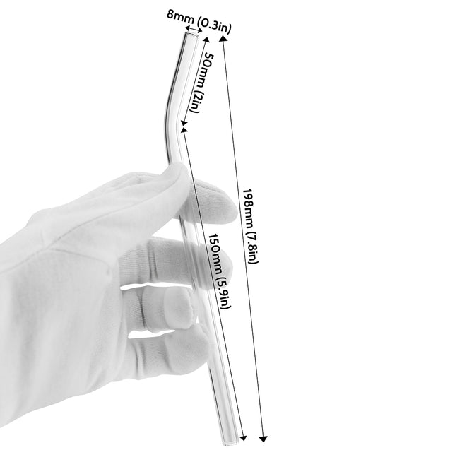 bendy glass straw with displayed dimensions 7.9 inches x 0.31 inches (20cm x 8mm)
