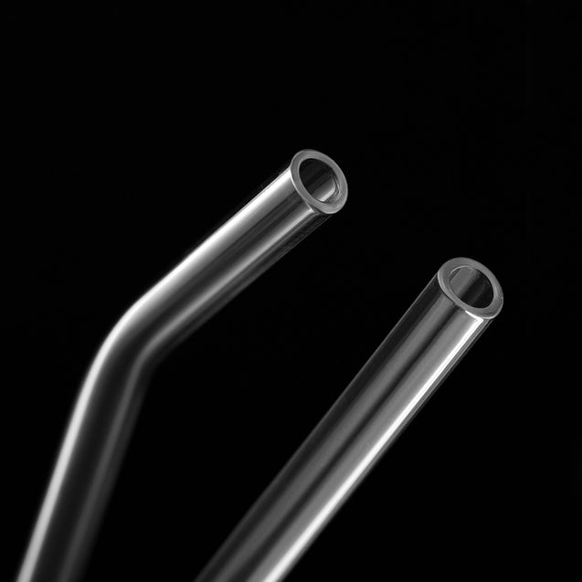 one straight glass straw and one bendy glass straw contrasting with black background 8mm wide