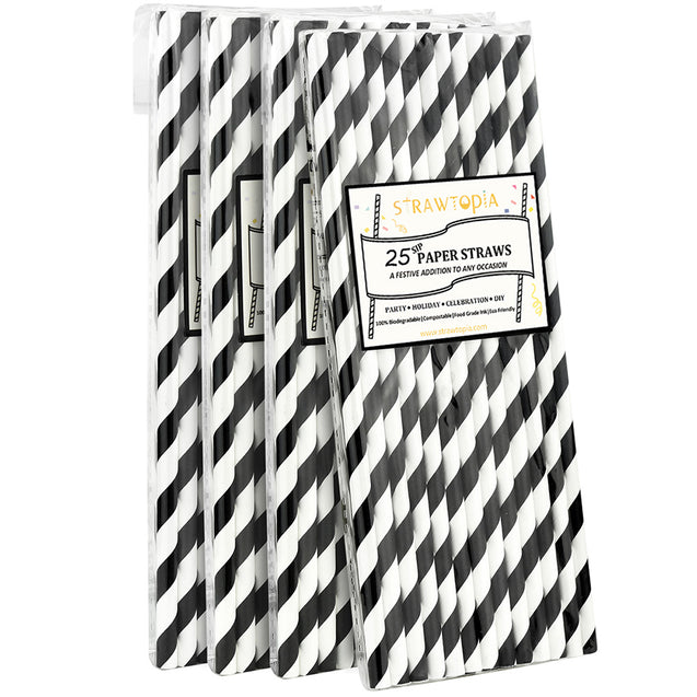 White | Black Striped Paper Straws — STRAWTOPIA - STRAWTOPIA