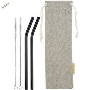 8mm (Black) 2 Bendy Reusable Glass Straws with Cleaning Brushes — STRAWTOPIA