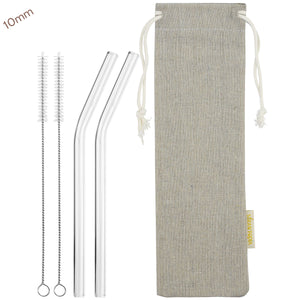 10mm (Transparent) 2 Bendy Reusable Glass Straws with Cleaning Brushes — STRAWTOPIA