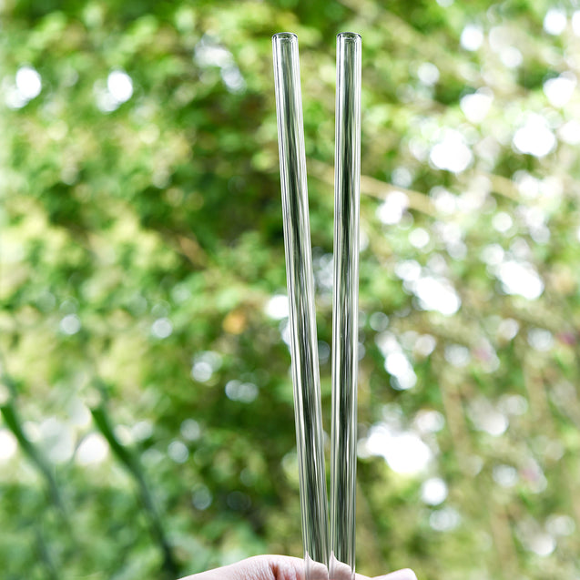 10mm (Transparent) 2 Straight Reusable Glass Straws with Cleaning Brushes — STRAWTOPIA