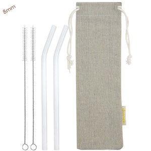 8mm (White) 2 Bendy Reusable Glass Straws with Cleaning Brushes — STRAWTOPIA