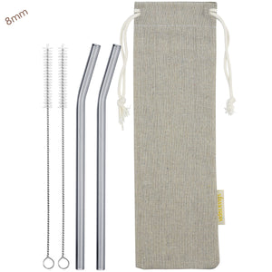 8mm (Grey) 2 Bendy Reusable Glass Straws with Cleaning Brushes — STRAWTOPIA