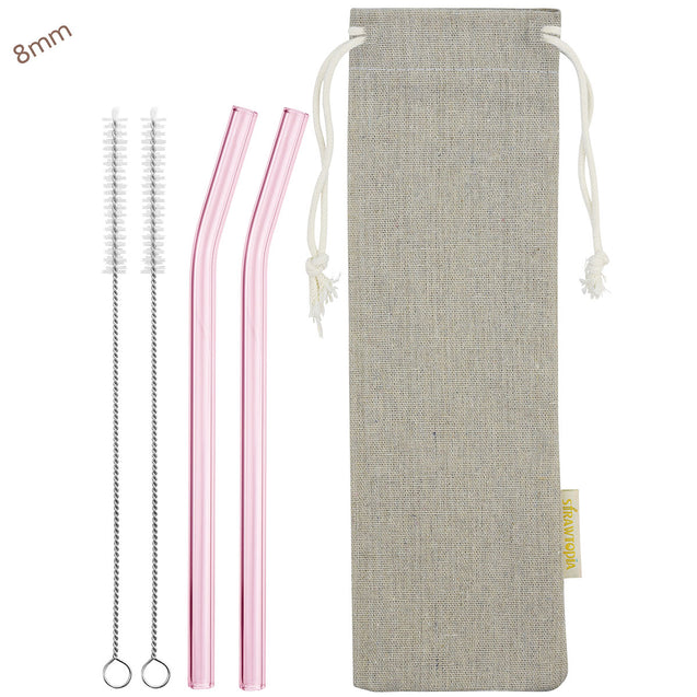 8mm (Pink) 2 Bendy Reusable Glass Straws with Cleaning Brushes — STRAWTOPIA