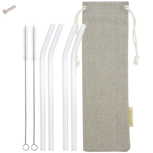 8mm (White) 4 Bendy Reusable Glass Straws with Cleaning Brushes — STRAWTOPIA