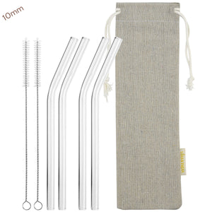 10mm (Transparent) 4 Bendy Reusable Glass Straws with Cleaning Brushes — STRAWTOPIA