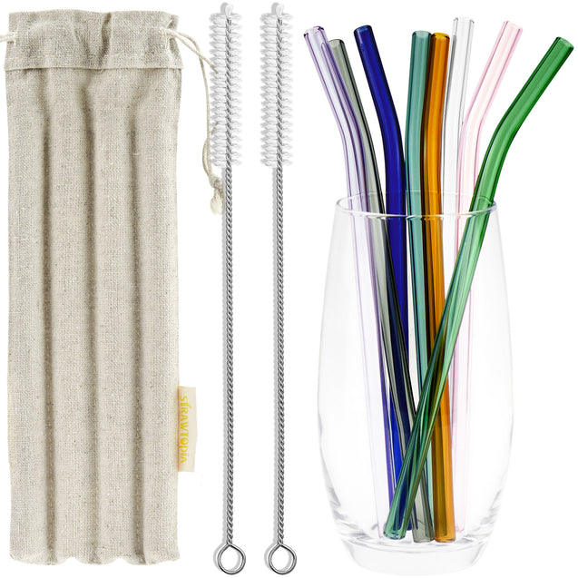 8mm 8 Color Bendy Glass Straws with Cleaning Brushes — STRAWTOPIA