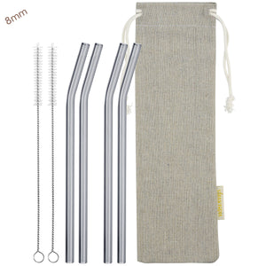 8mm (Grey) 4 Bendy Reusable Glass Straws with Cleaning Brushes — STRAWTOPIA