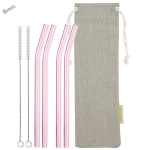 8mm (Pink) 4 Bendy Reusable Glass Straws with Cleaning Brushes — STRAWTOPIA