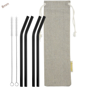 8mm (Black) 4 Bendy Reusable Glass Straws with Cleaning Brushes — STRAWTOPIA