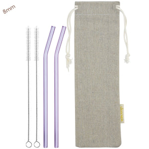 8mm (Purple) 2 Bendy Reusable Glass Straws with Cleaning Brushes — STRAWTOPIA