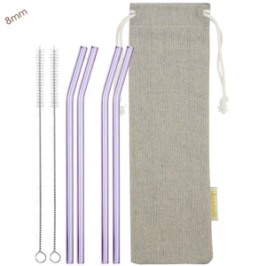 8mm (Purple) 4 Bendy Reusable Glass Straws with Cleaning Brushes — STRAWTOPIA