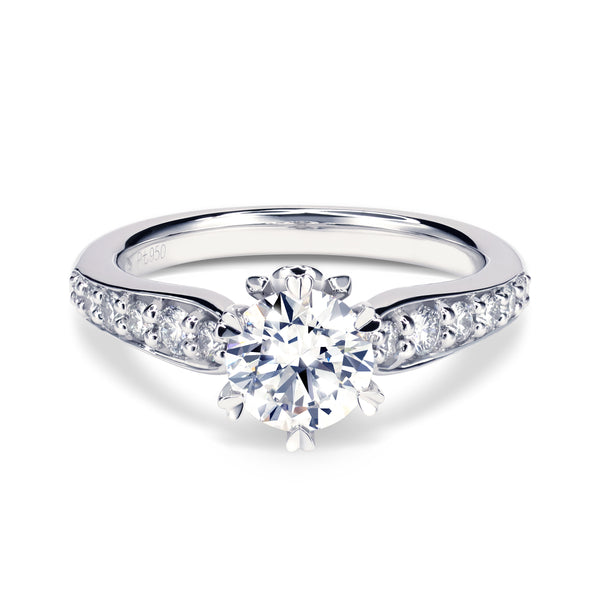 FLEURS ENGAGEMENT RING with diamond band