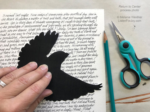 Process photo of the bird cut-out in Return to Center
