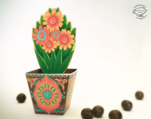 DIY Mini Flower Pot box: Brown pot design