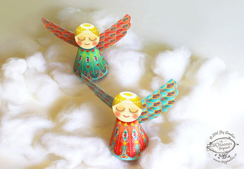 Set of 6 Decorative Paper Angels