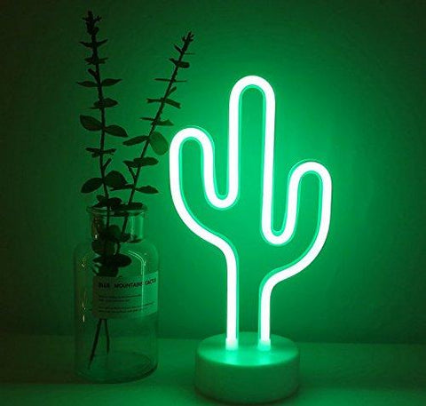 Green Cactus Table LED Neon Light